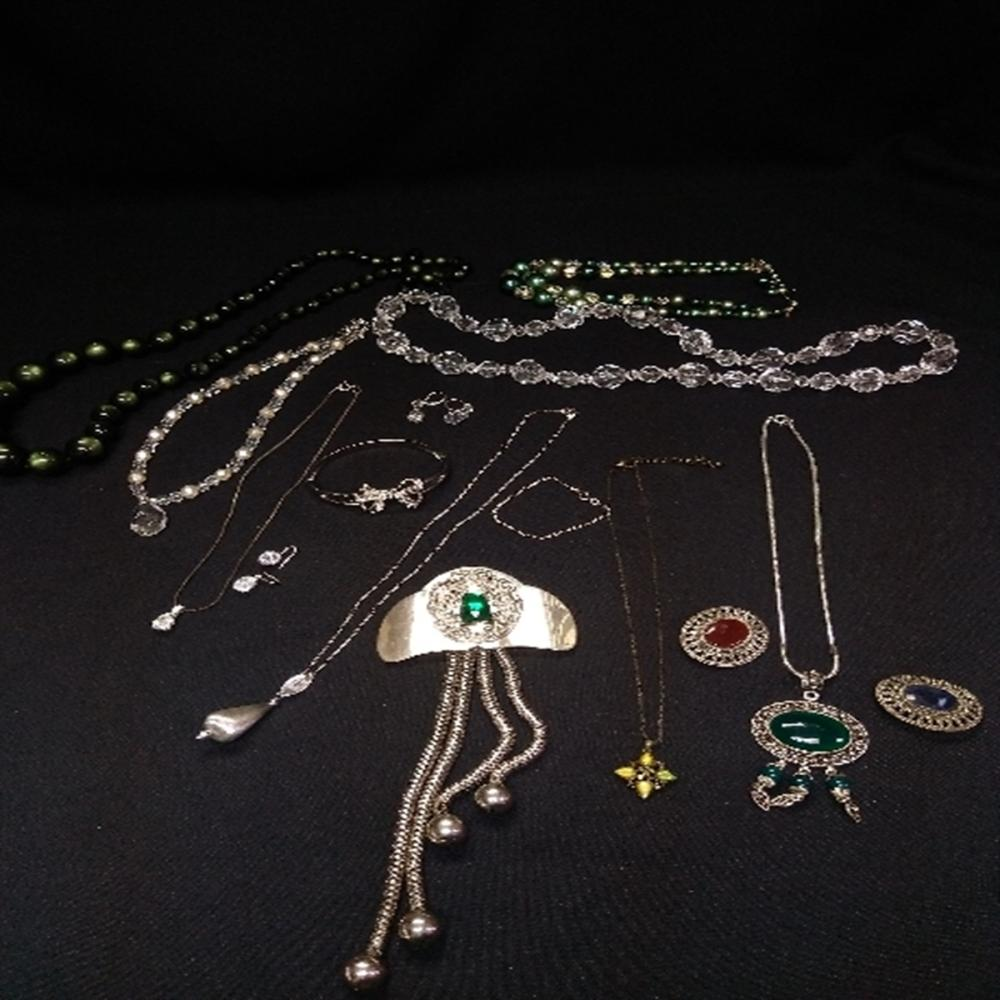 Green, Silver, and Crystal Beaded Jewelry Lot