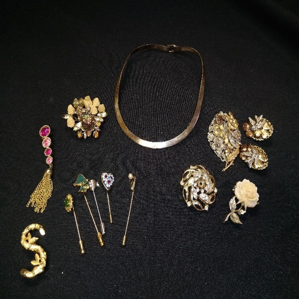 Brooches and Sterling Necklace Lot