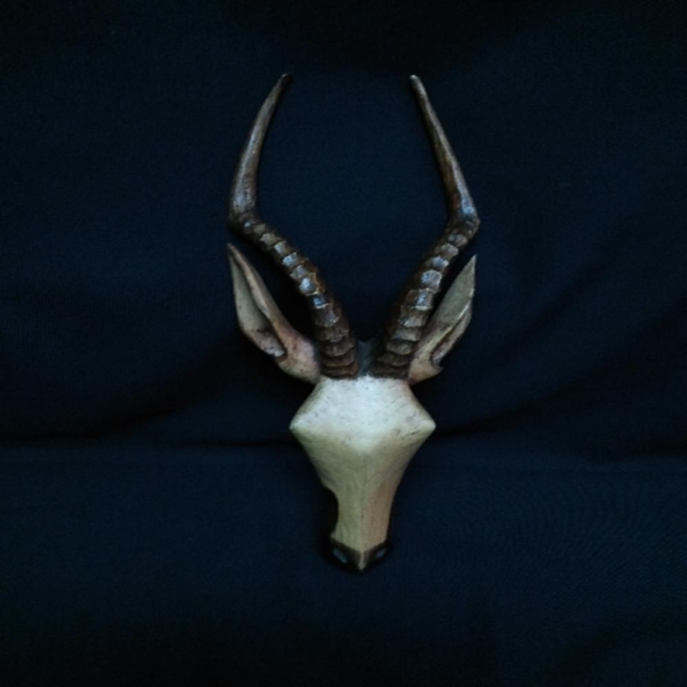 "Carved Wood Antelope Head 14.5"" Long"