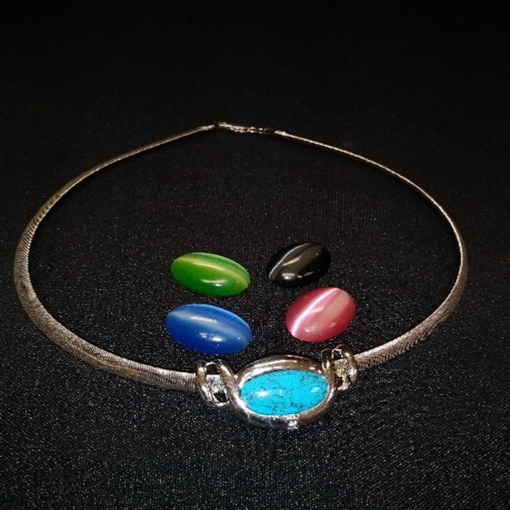 Silver Tone Necklace with 5 Interchangeable Stones