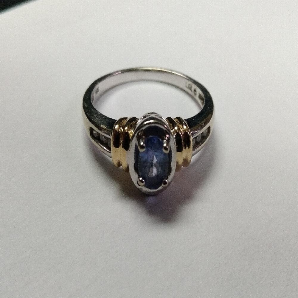 14 Karat White and Yellow Gold Ring w/Tanzanite