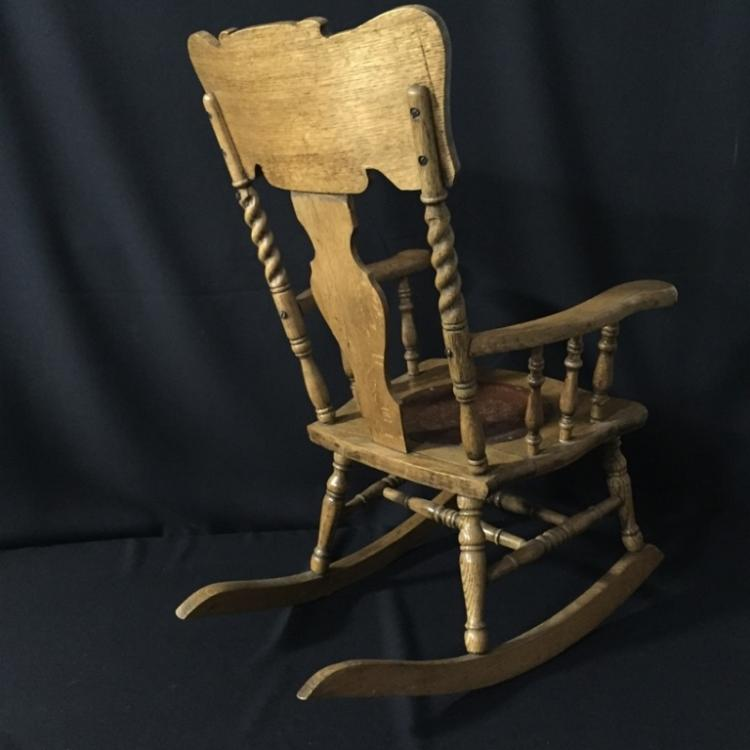 Antique Wooden Carved Chair ~ Antique hand carved wooden rocking chair