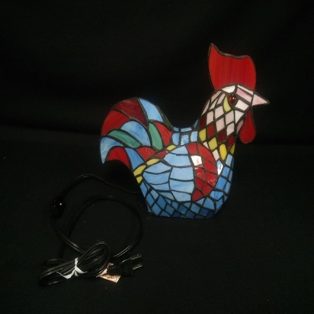 Stained Glass Rooster Lamp - Tiffany Style