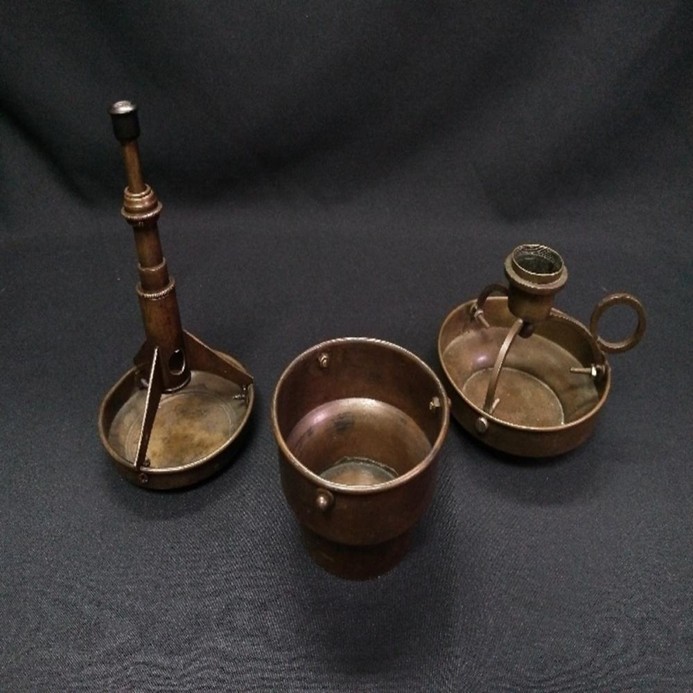 Brass Smoker's Lot: Cigar Cutter/Ashtray/Candle