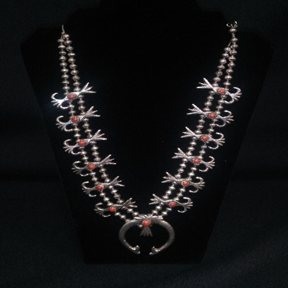 Vintage Silver & Red Coral Squash Blossom Necklace