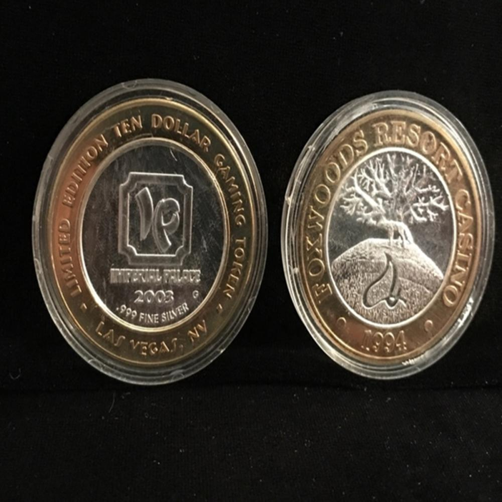 (2) .999 Fine Silver Gaming Tokens