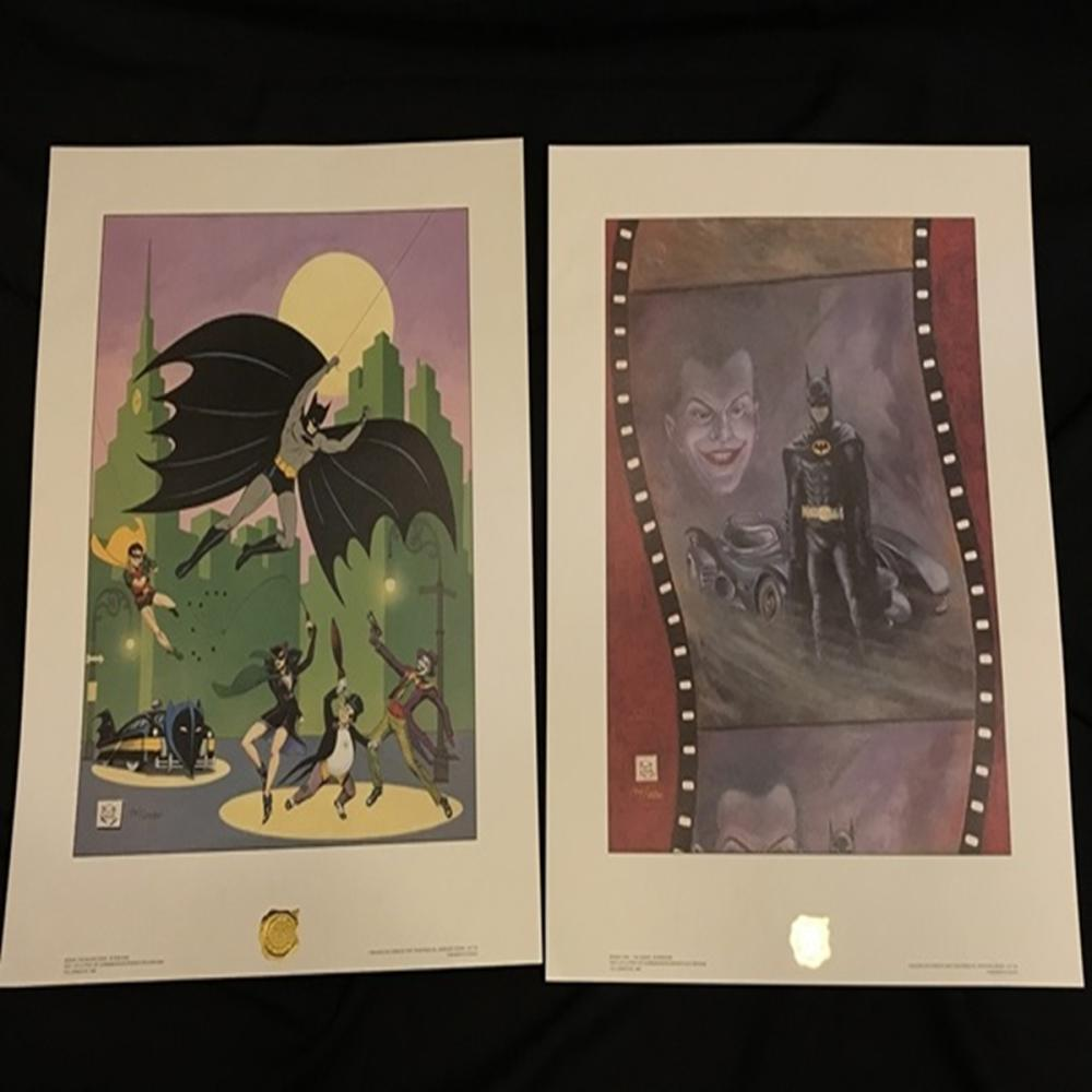 (2) Authentic Batman Prints Bob Kane