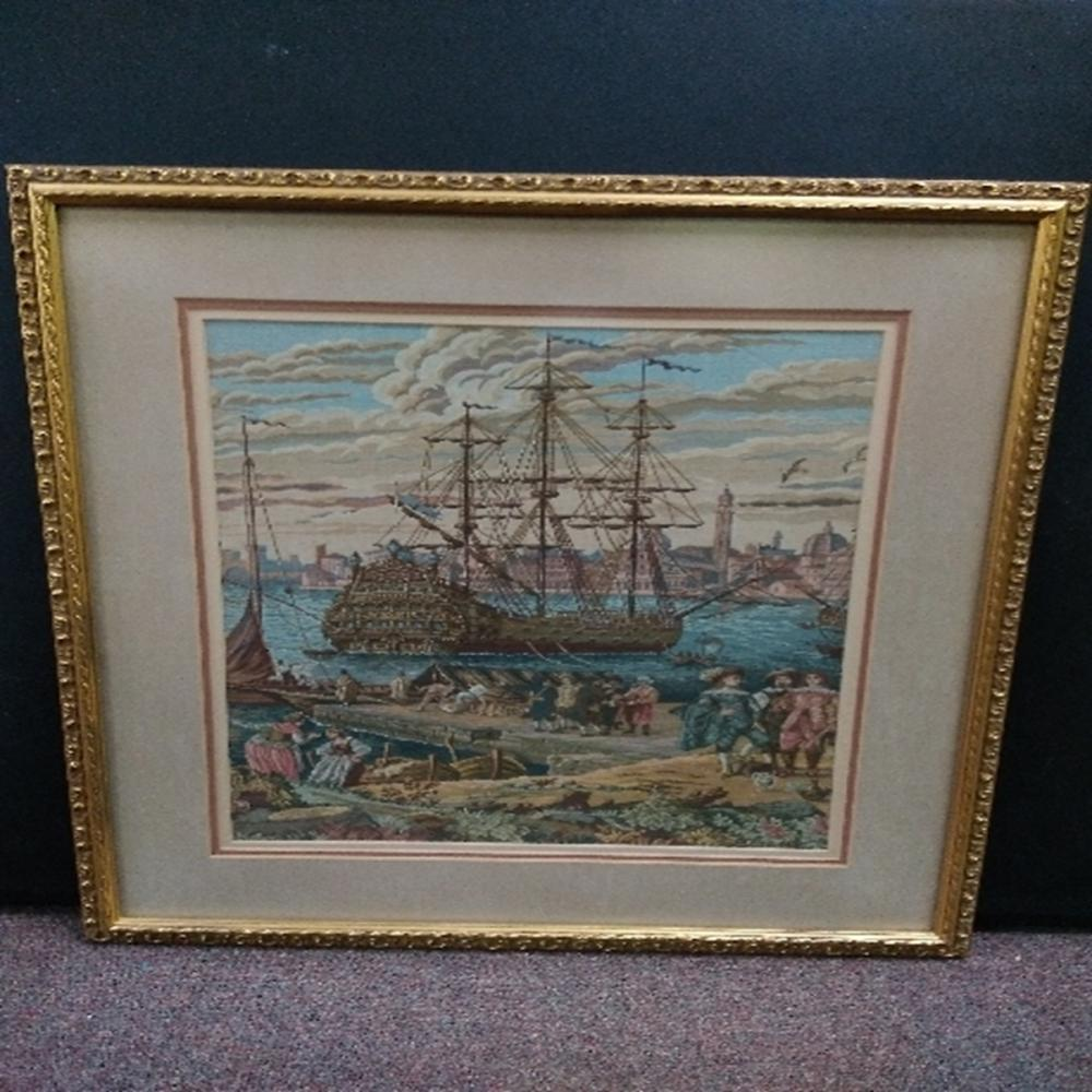 Framed and Matted Tapestry of Ship In Harbor