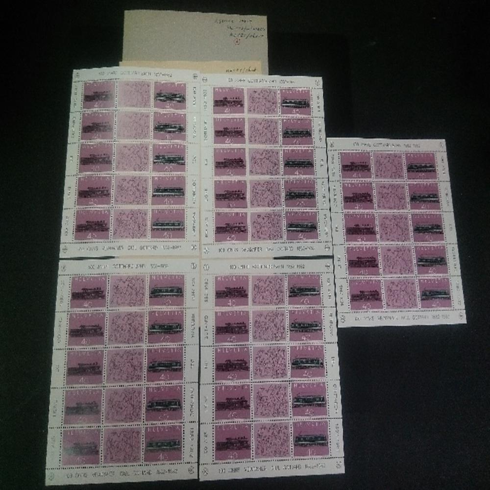 Philatelic: Switzerland #708-709 (5) Sheets