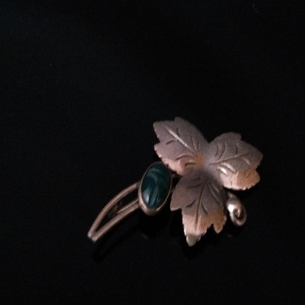 Sterling and Chrysoprase Three Leaf Brooch