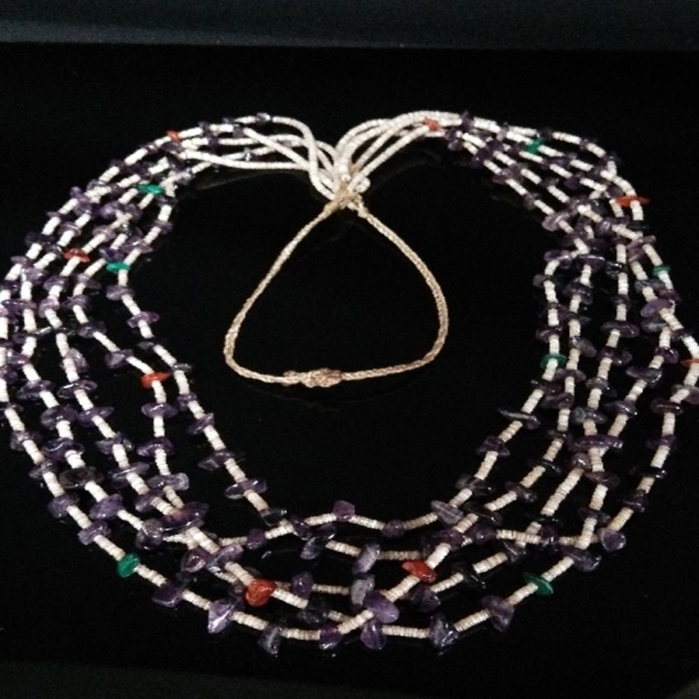 Long Multi-Strand Amethyst Stone Necklace
