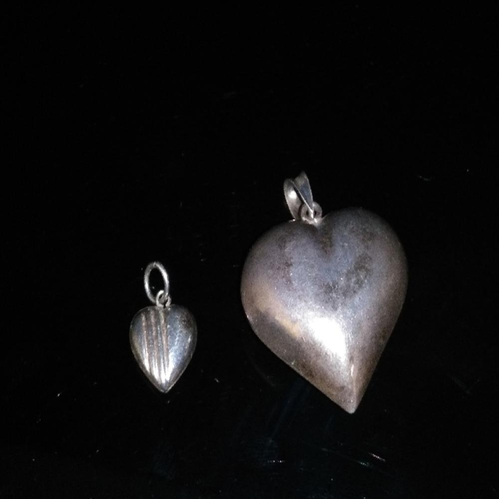 (2) Sterling Heart Pendants