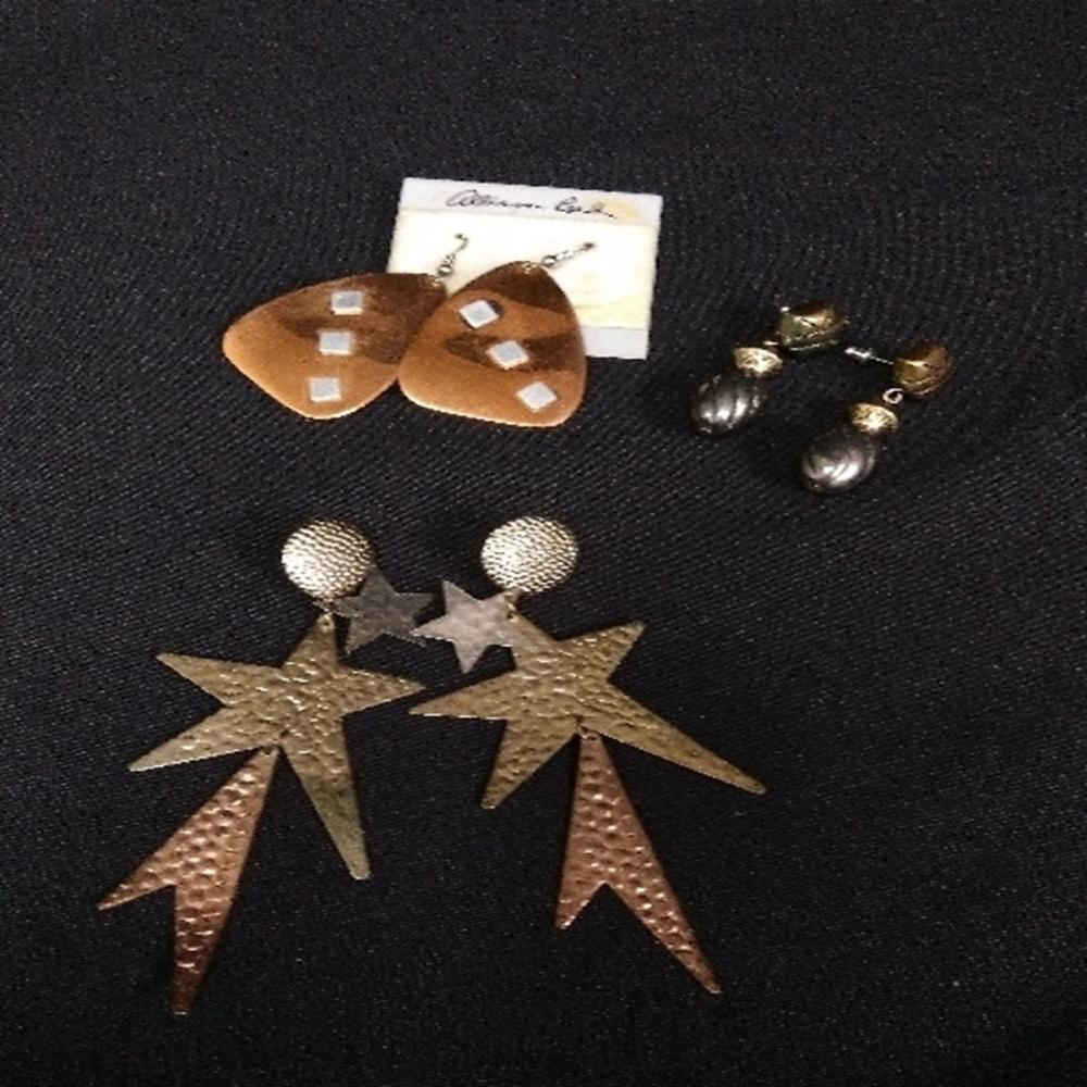 Hammered Copper and Metal Plated Earring Lot