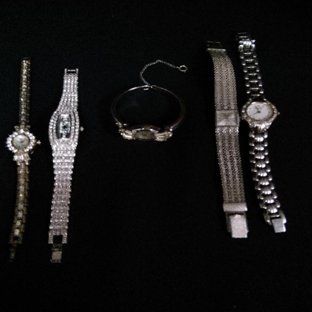 (5) Fashion Womens Silver & Quartz Stone Watches