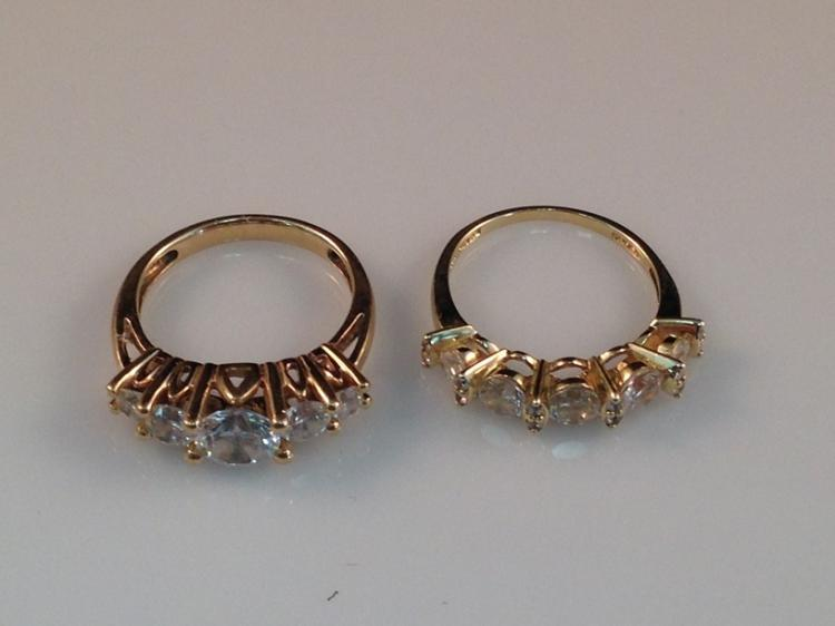 Vintage 2 Piece 14K CZ Wedding Set Rings