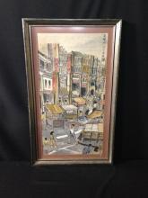Vintage Watercolor 'Chinatown'