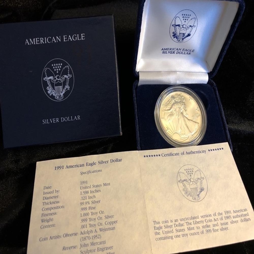1991 American Silver Eagle With COA And Box