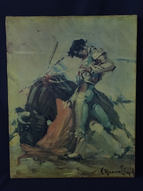 Vintage Bullfighter on Canvas Painting