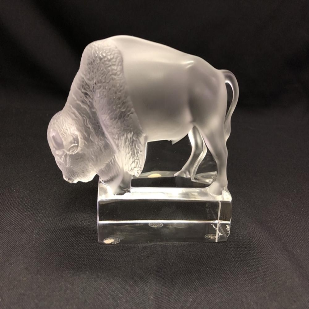 Rene Lalique Buffalo or Bison Paperweight - Signed