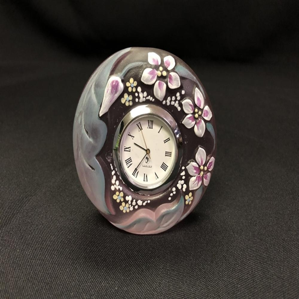 Fenton Hand Painted Pink Satin Glass Clock