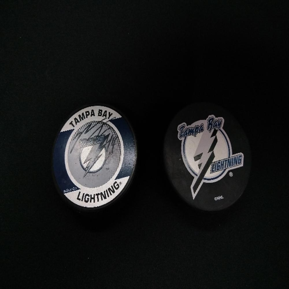 (2) Tampa Bay Lightning Pucks - (1) Autographed