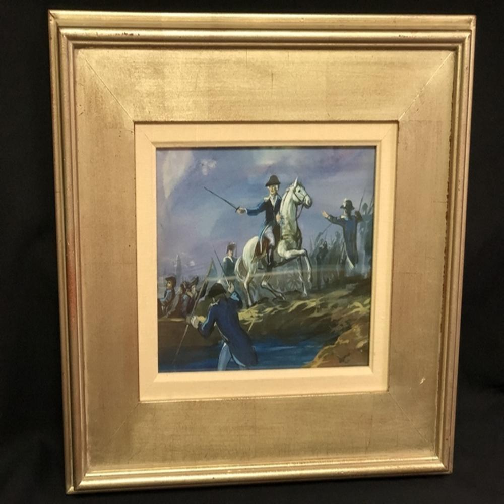 "Framed Minnie Gathinger Watercolor ""Battle"""
