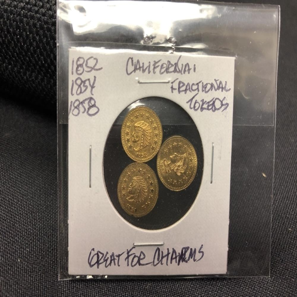 (3) California Gold 1/2 Fractional Souvenir Tokens
