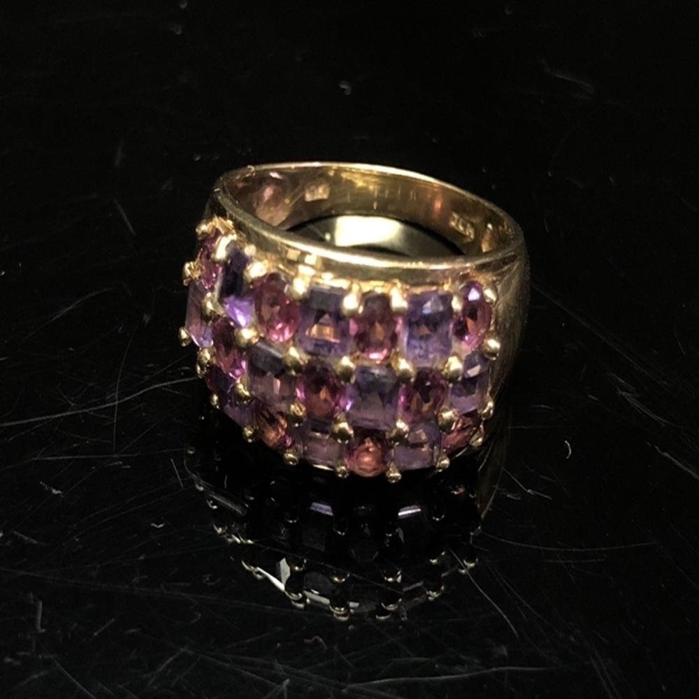 10 Kt Gold Ring with Amethyst/Rose Quartz Stones