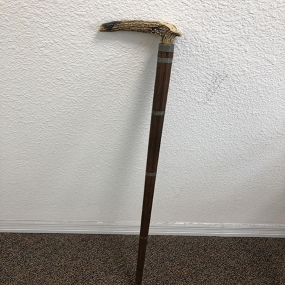 Antique Deer Handled Walking Stick w/Nickel Accent