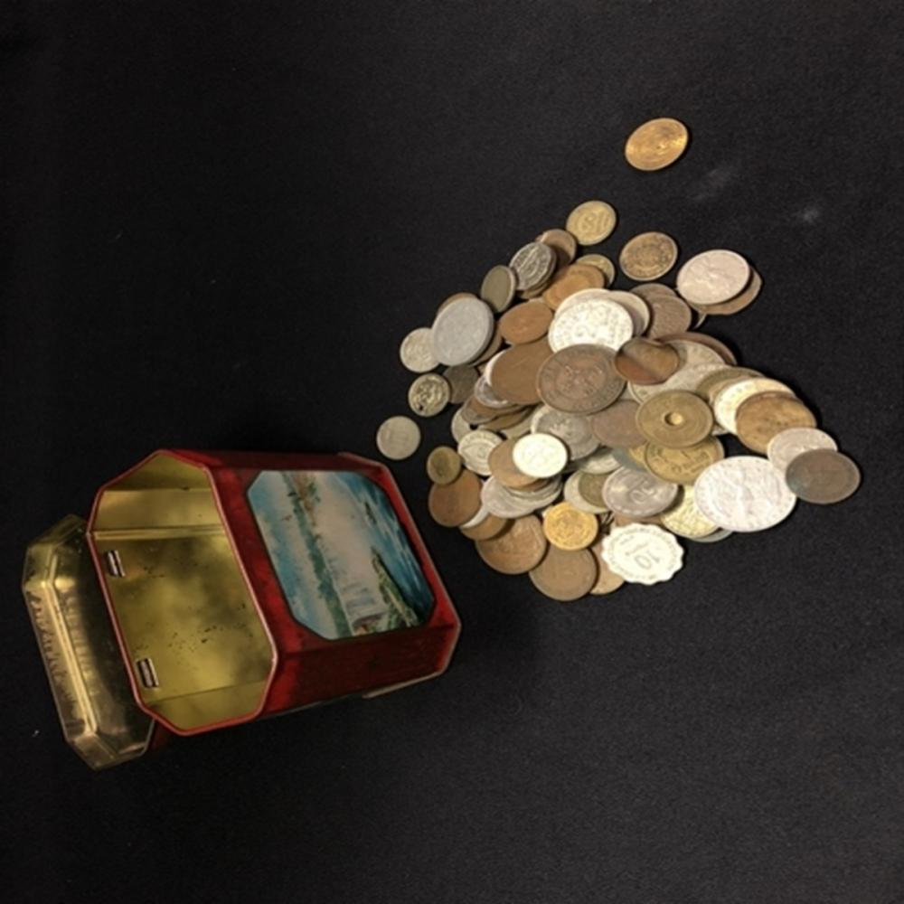Tin Box of Miscellaneous Foreign Coins