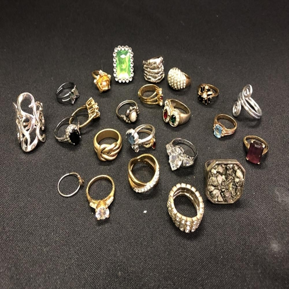 Bag Full of Costume Jewelry Cocktail Rings