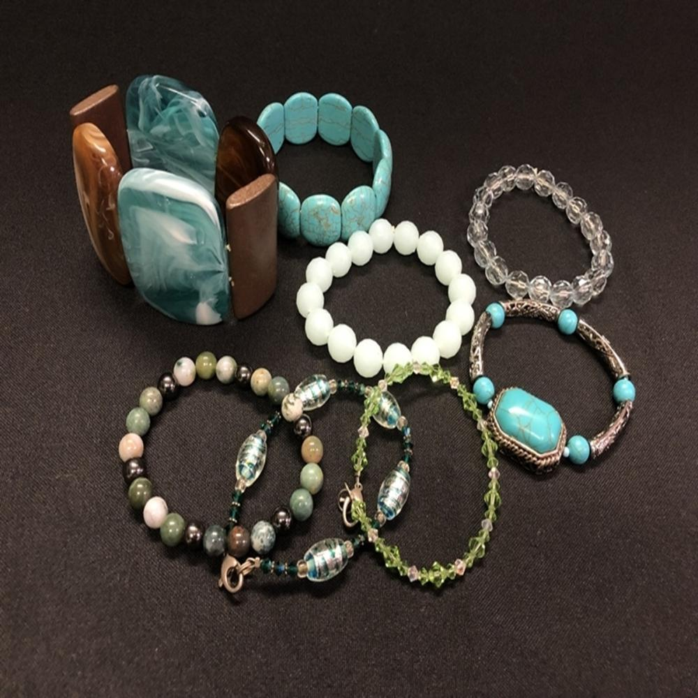 Turquoise/Jade/Crystal/Sterling/Wood Bracelet Lot