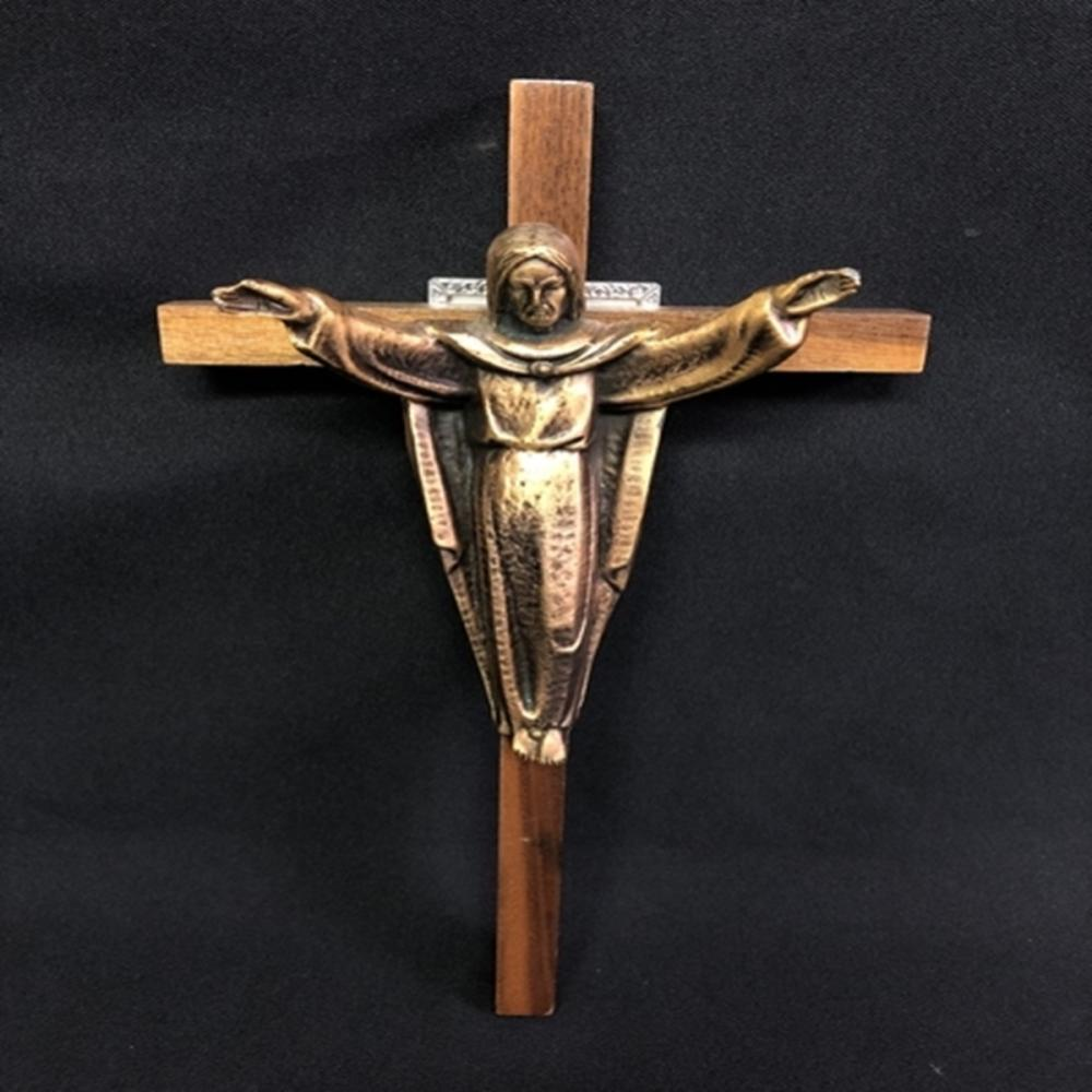 "12"" Wood and Metal Wall Crucifix Cross"