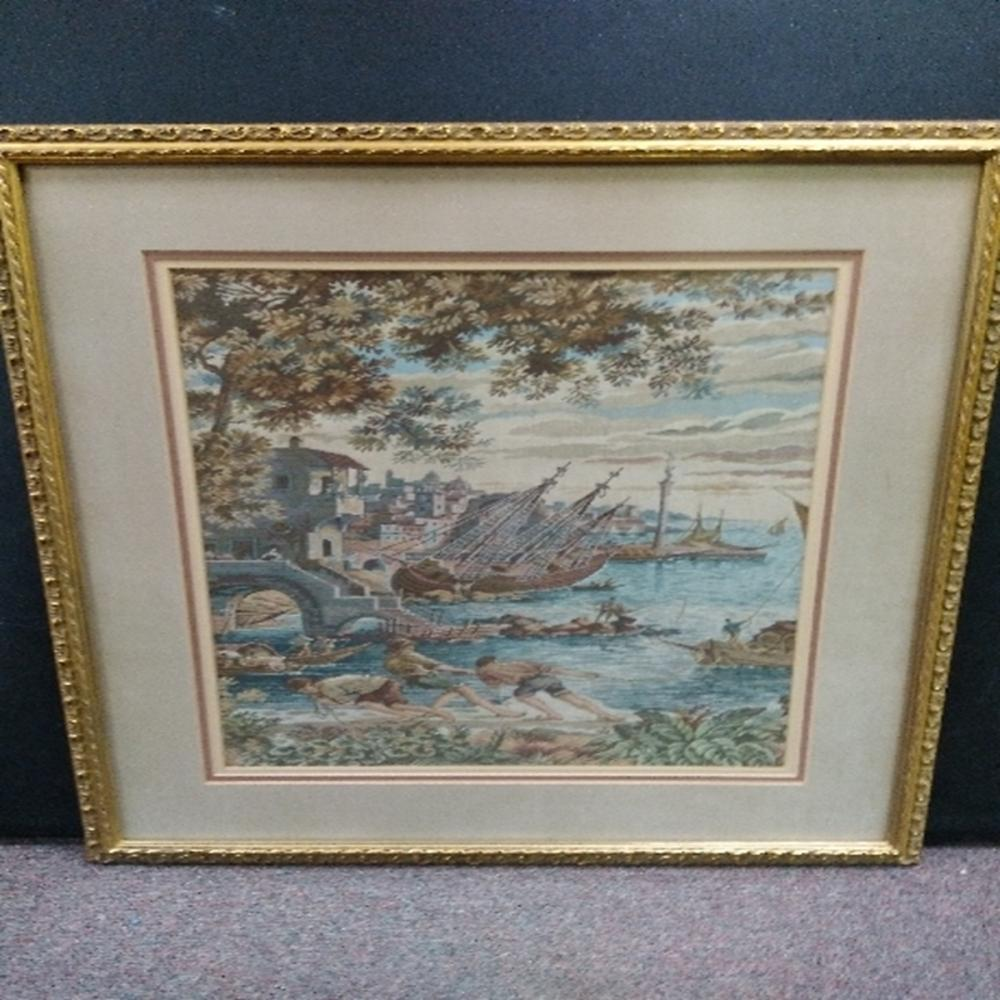 Framed Tapestry of Ships Along The Water You are b