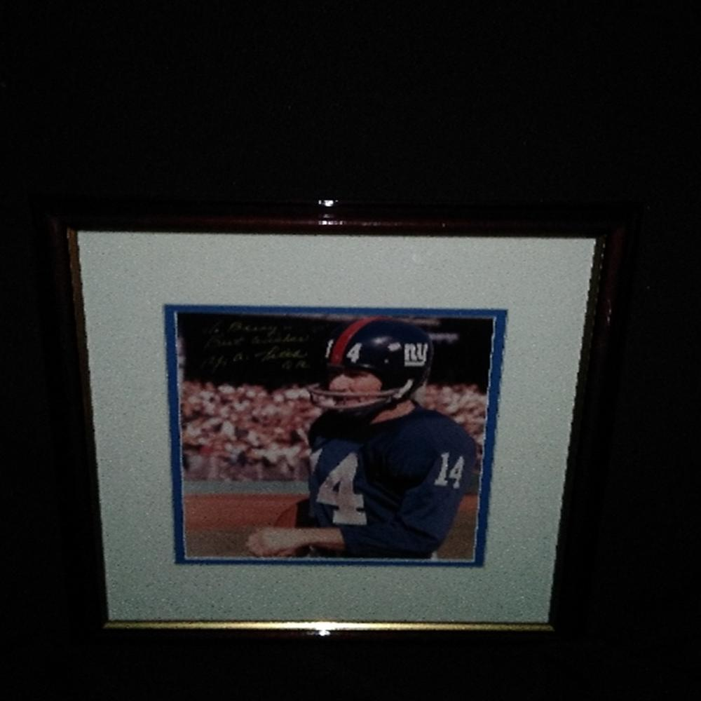 Framed/Signed Photo of NY Giants QB: Y.A. Tittle Y