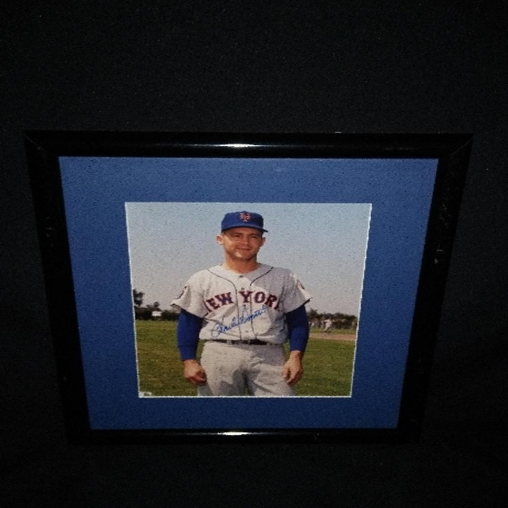 Signed/Framed NY Mets Charlie Smith Photograph Cha