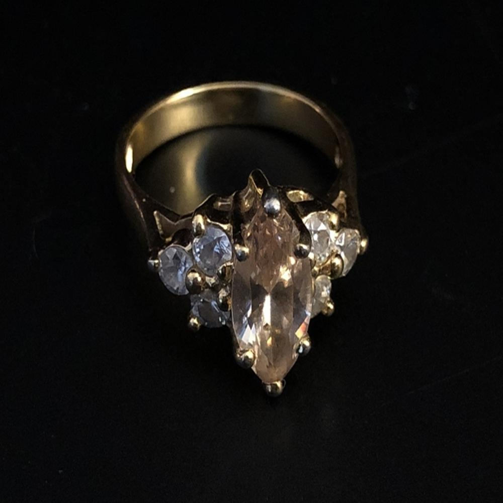 Peach Tourmaline Gold Over Sterling Silver Ring