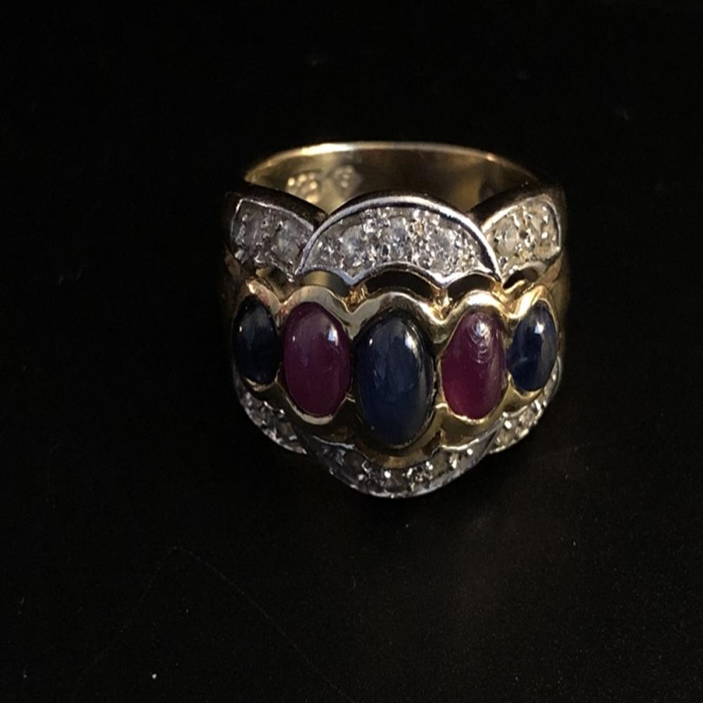 Pink and Blue Sapphire Gold Over Sterling Ring