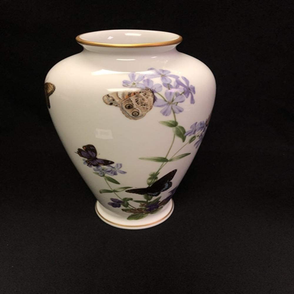 Franklin Porcelain The Meadowland Butterfly Vase