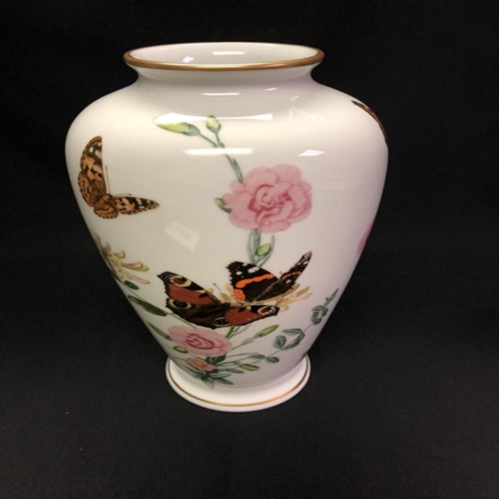 Franklin Porcelain Country Garden Butterfly Vase