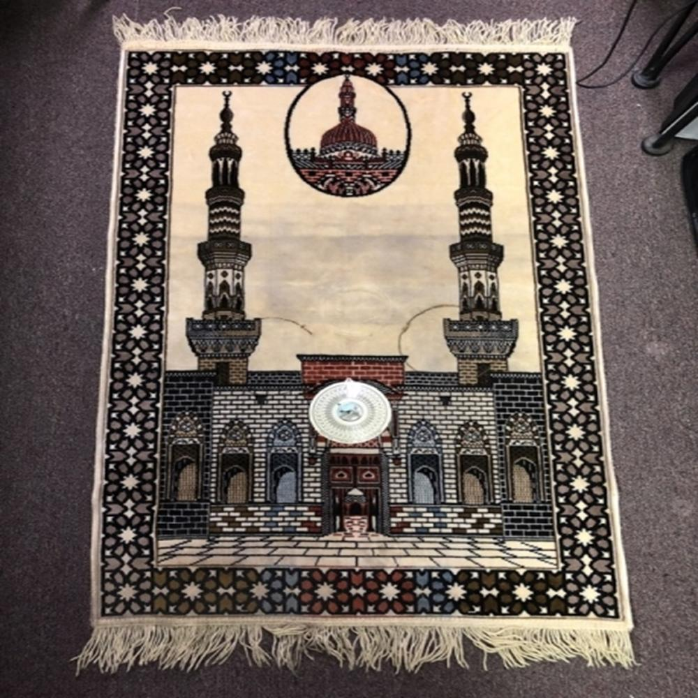 Cream Islamic Praying Rug with Compass