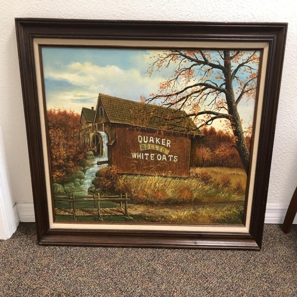 Framed Oil on Canvas Quaker Rolled White Oats Barn