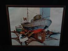 Signed Original Oil on Canvas 'Fishing Boat'.