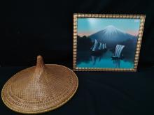 Vtg Asian Bamboo Straw Conical Sun Hat & Artwork.