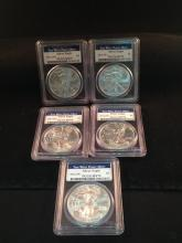 Lot of (5) West Point 2013 Silver Eagles MS70