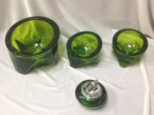 (4) Pc Set Vintage Green Glass Ashtrays/Lighter.