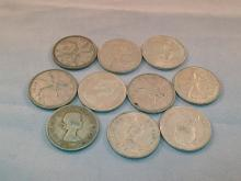 Lot of (10) Canadian Silver Quarters