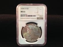 1934 D Peace Silver Dollar MS 61