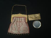 Vintage Beaded Mesh Purse with Gold tone Frame.