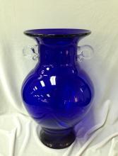 Vintage Cobalt Blue Glass Urn w/Clear Handles.